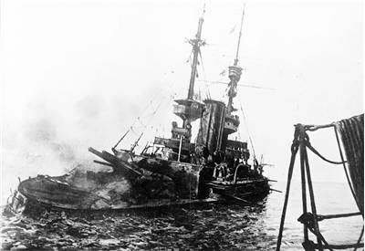 Picture Of HMS Irresistible Abandoned And Sinking 1915