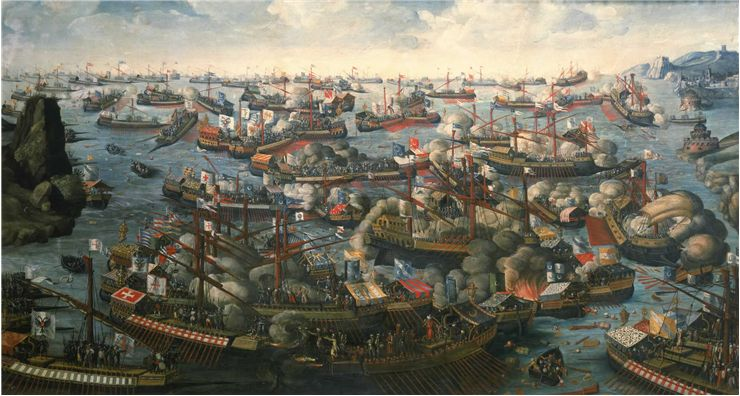Picture Of Ships At The Battle Of Lepanto In 1571